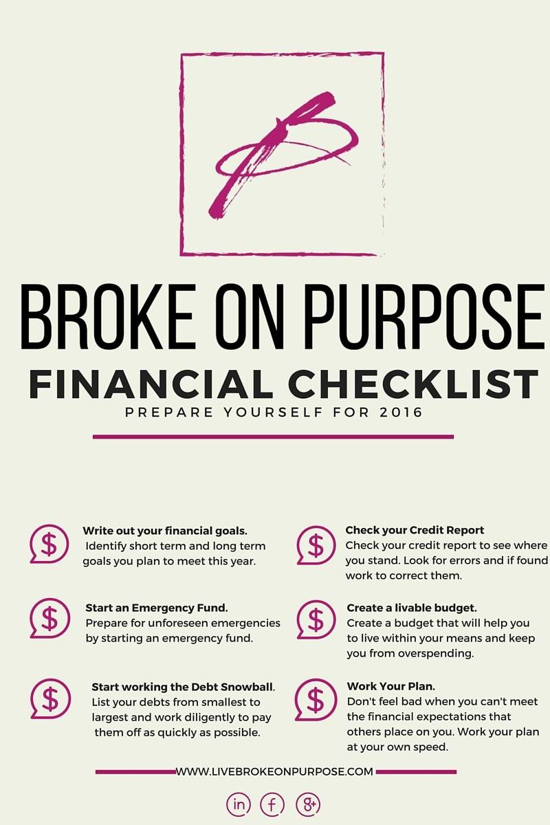2016 financial checklist broke on purpose is 2016 going to be your year of financial change