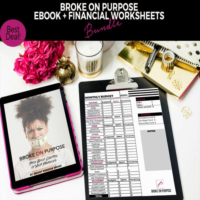 Broke on Purpose Ebook and Financial Worksheet Bundle FI