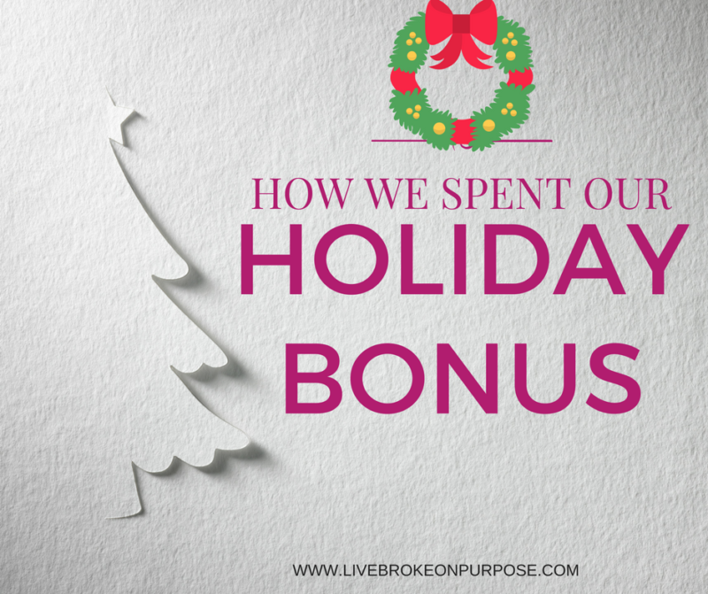 HOW WE SPENT OUR HOLIDAY BONUS www.livebrokeonpurpose.com