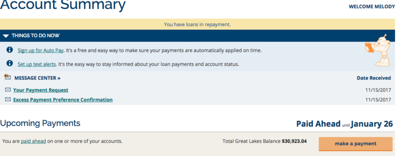 Understanding Paid Ahead Status with Great Lakes Student Loans www.livebrokeonpurpose.com